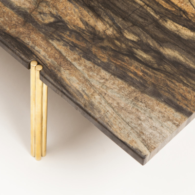 LEATHERED MARBLE & BRASS COFFEE TABLE