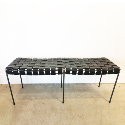UNTITLED WOVEN LEATHER BENCH