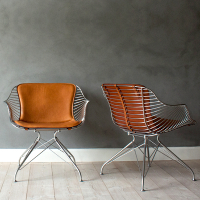 LEATHER & WIRE LOUNGE CHAIR