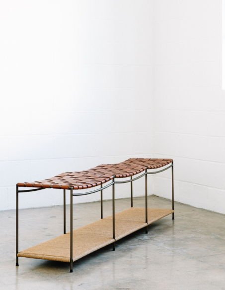 UNTITLED WOVEN LEATHER BENCH WITH SHELF