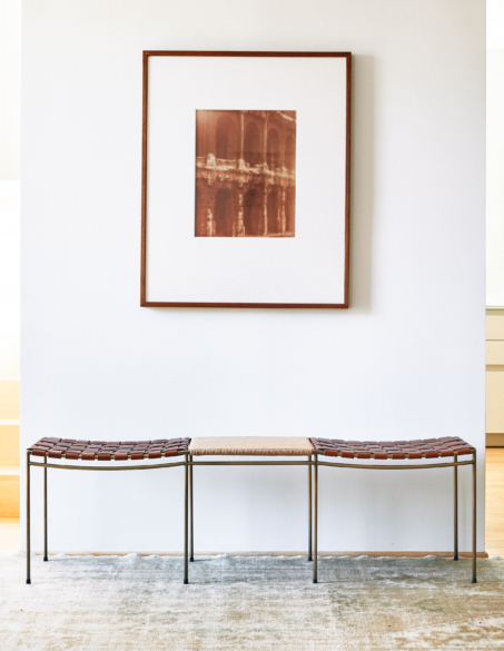 WOVEN LEATHER BENCH WITH RUSH TABLE