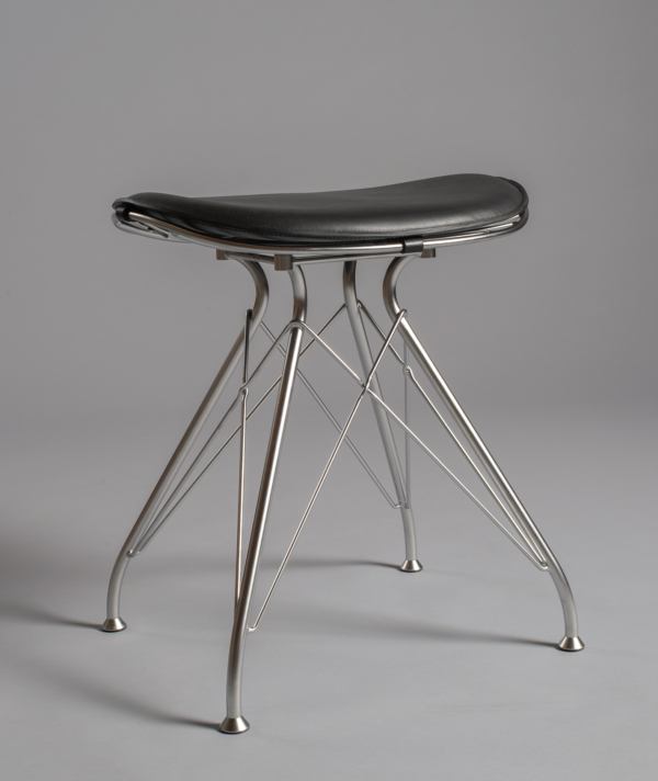 SMALL LEATHER & WIRE STOOL