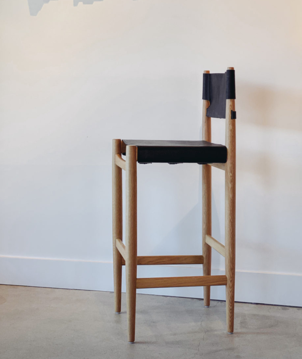LEATHER CAMPAIGN BARSTOOL
