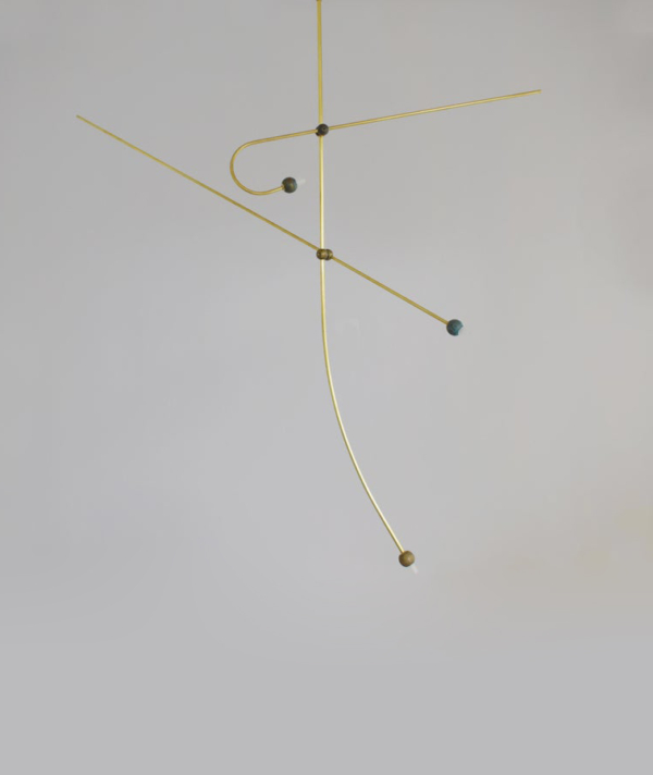 "BRASS SCULPTED LIGHT SUSPENSION, ""LET'S TALK"" NO 3.11"